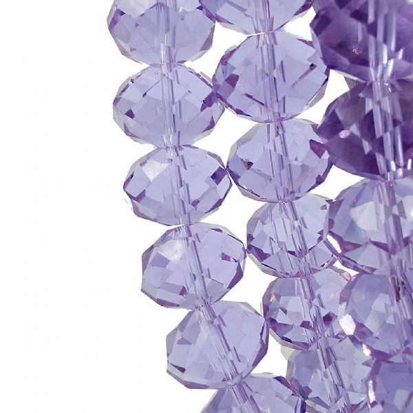 48 pcs x 16mm Glass Faceted Rondelle Lilac 037